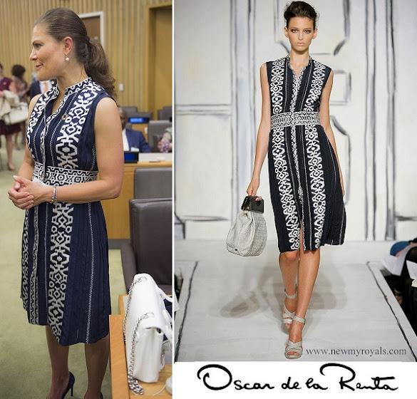 Crown Princess Victoria wore OSCAR DE LA RENTA Dress