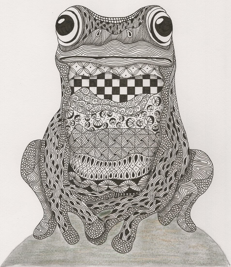11-Frog-Adri-van-Garderen-Animals-Given-the-Zentangle-Treatment-www-designstack-co