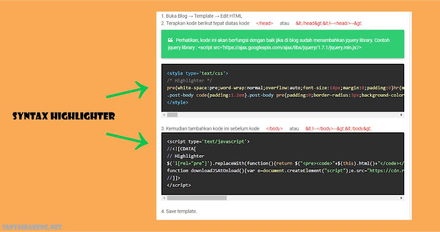 Cara Memasang Syntax Highlighter di Postingan Blog