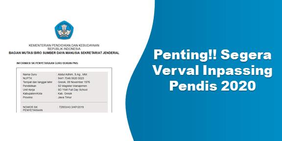 Penting!! Segera Verval Inpassing Pendis 2020