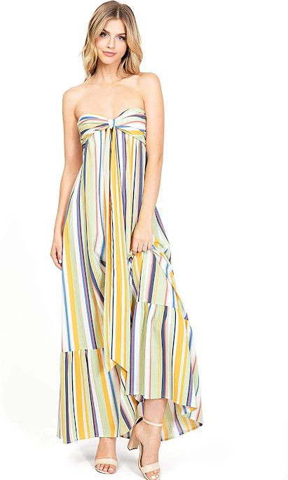 Cute Chiffon Strapless Maxi Dresses