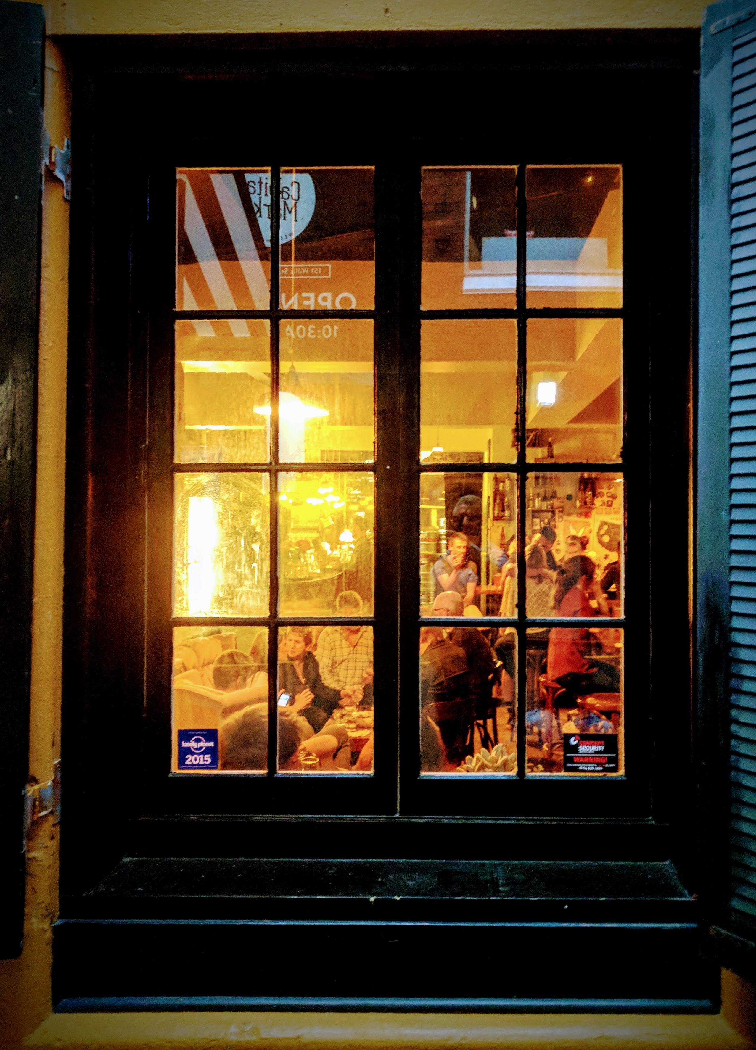 Restaurant window looking in