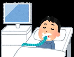 人工呼吸器をつけた人のイラスト(気管挿管)