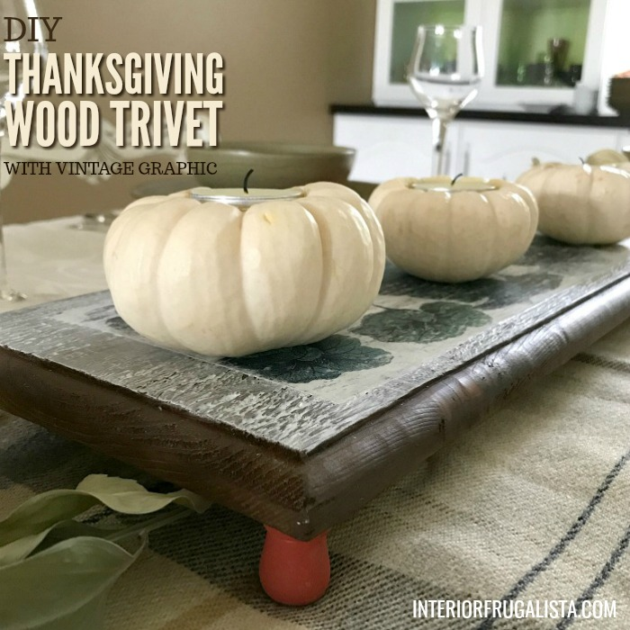 DIY Thanksgiving Wood Trivet With Vintage Graphic