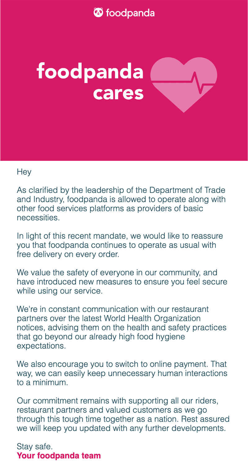 foodpanda e-mail