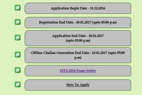 ssc mts 2016 important date