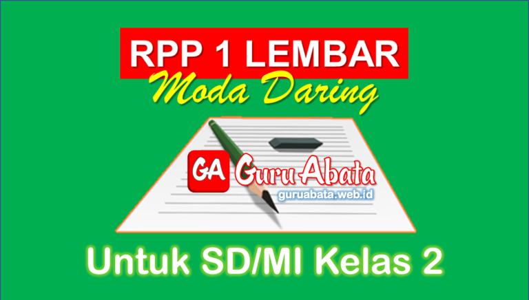 RPP 1 Lembar Daring Kelas 2 SD/MI Semester 1 Dan 2 Revisi Terbaru