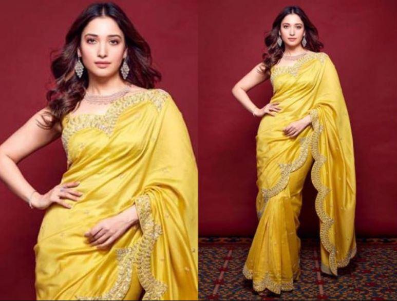 tamanna-bhatia-yellow-saree-photos