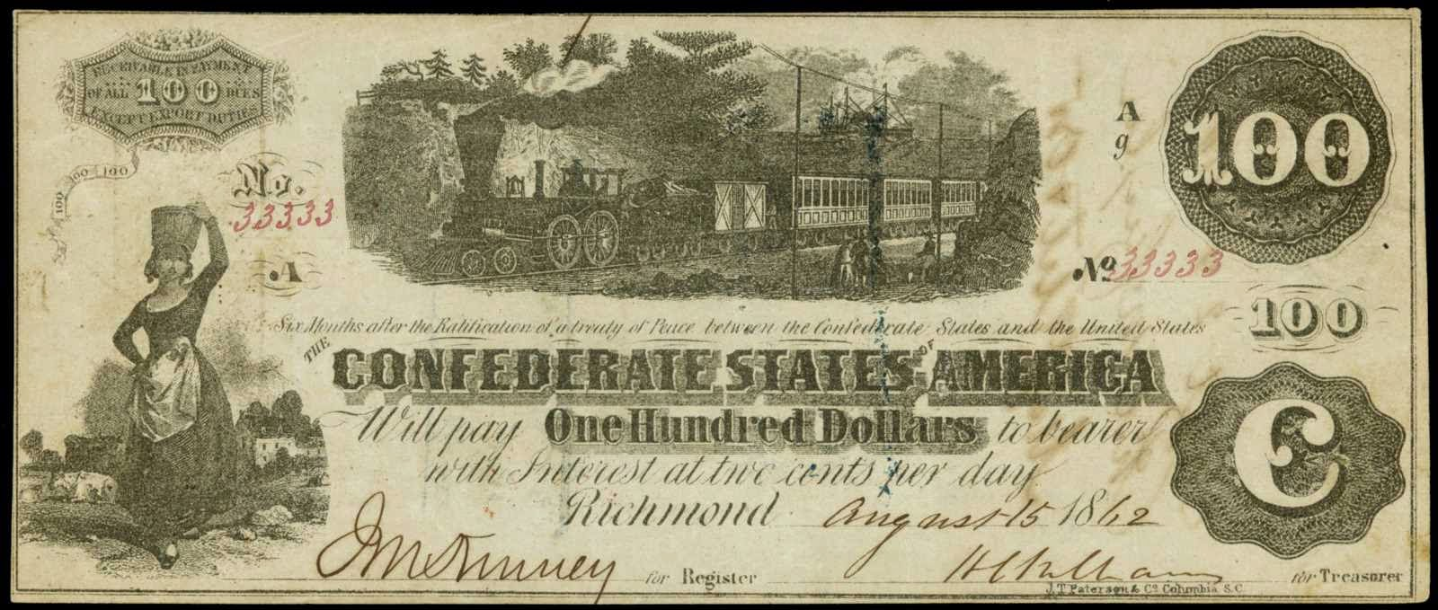 Confederate Currency 100 Dollar CSA Train Note 1862