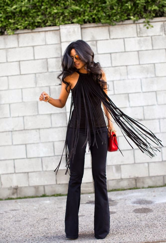 fringe top, bell buttons, flared trousers, trend