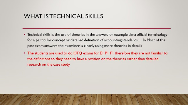 Technical Skills in CIMA OCS case study