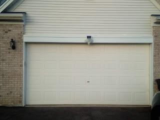 Finished picture of trim around the garage door.