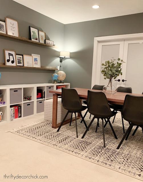 game room table decor basement