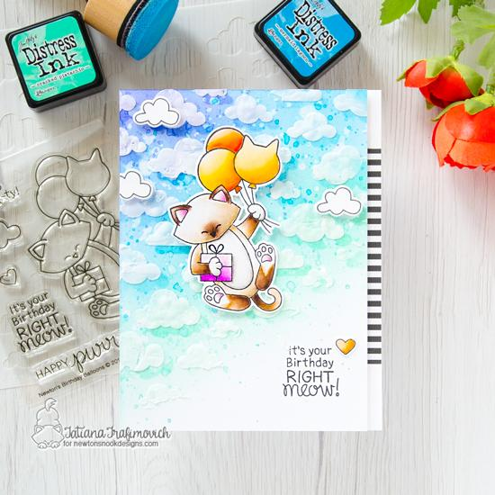 It's Your Birthday Right Meow ! Cat Birthday Card by Tatiana Trafimovich | Newton's Birthday Balloons Stamp Set and Cloudy Sky Stencil by Newton's Nook Designs #newtonsnook #handmade