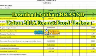 Download Aplikasi RKAS SD Tahun 2016 Format Excel Terbaru