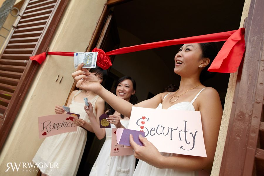 Being a hired bridesmaid does not spare them from the wedding games or stunts