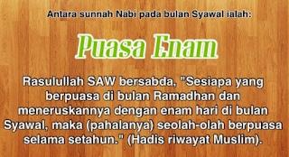 Keutamaan Puasa 6 Hari Syawal