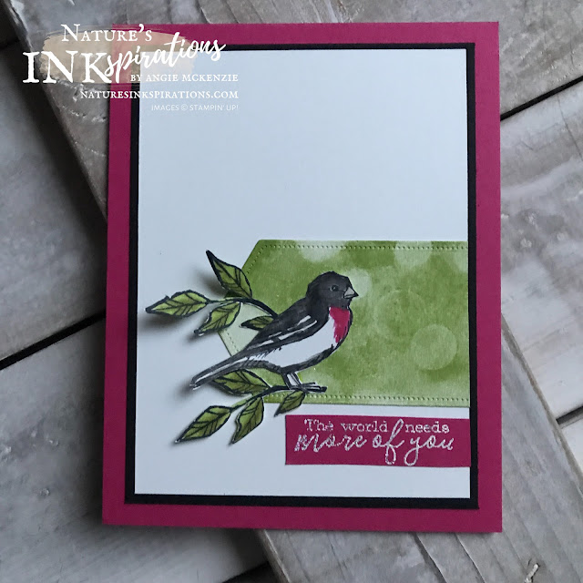 By Angie McKenzie for CAS Challenge Entry at The Paper Players, PP487; Click READ or VISIT to go to my blog for details! Featuring the Free as a Bird and Bokeh Dots stamp sets and the Stitched Nested Labels Dies; #PP487 #thepaperplayerschallengeblog #stampinup #handmadecards #naturesinkspirations #keepstamping #spreadsunshine #quarantinecards  #friendshipcards #freeasabirdstampset #bokehdotsstampset #stitchednestedlabelsdies #rosebreastedgrosbeak #coloringwithblends #coloringwithwatercolorpencils #bling #cardchallenges #cardtechniques