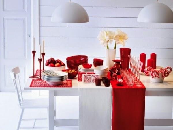 comedor navidad blanco rojo