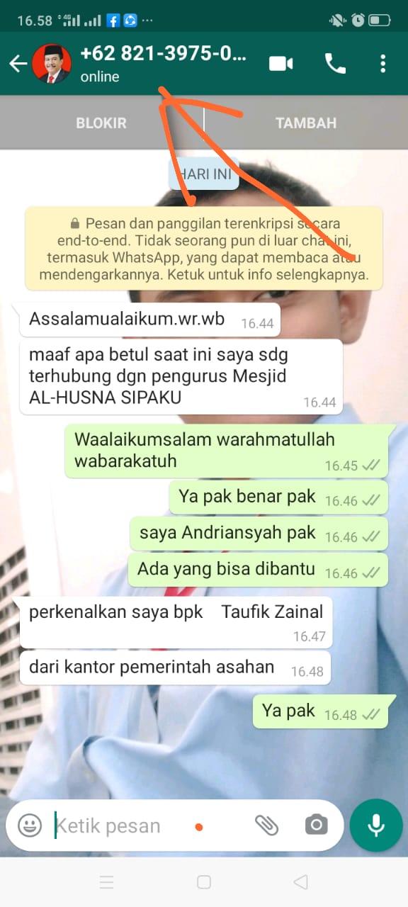 Hati-Hati..! Beredarnya Nomor Whatsapp Mengatasnamakan Wakil Bupati Asahan