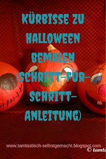 als-Halloweendeko-bemalte-Kürbisse-mit-Blogtitel:Kürbisse-zu-Halloween-bemalen-(Schritt-für-Schritt-Anleitung)
