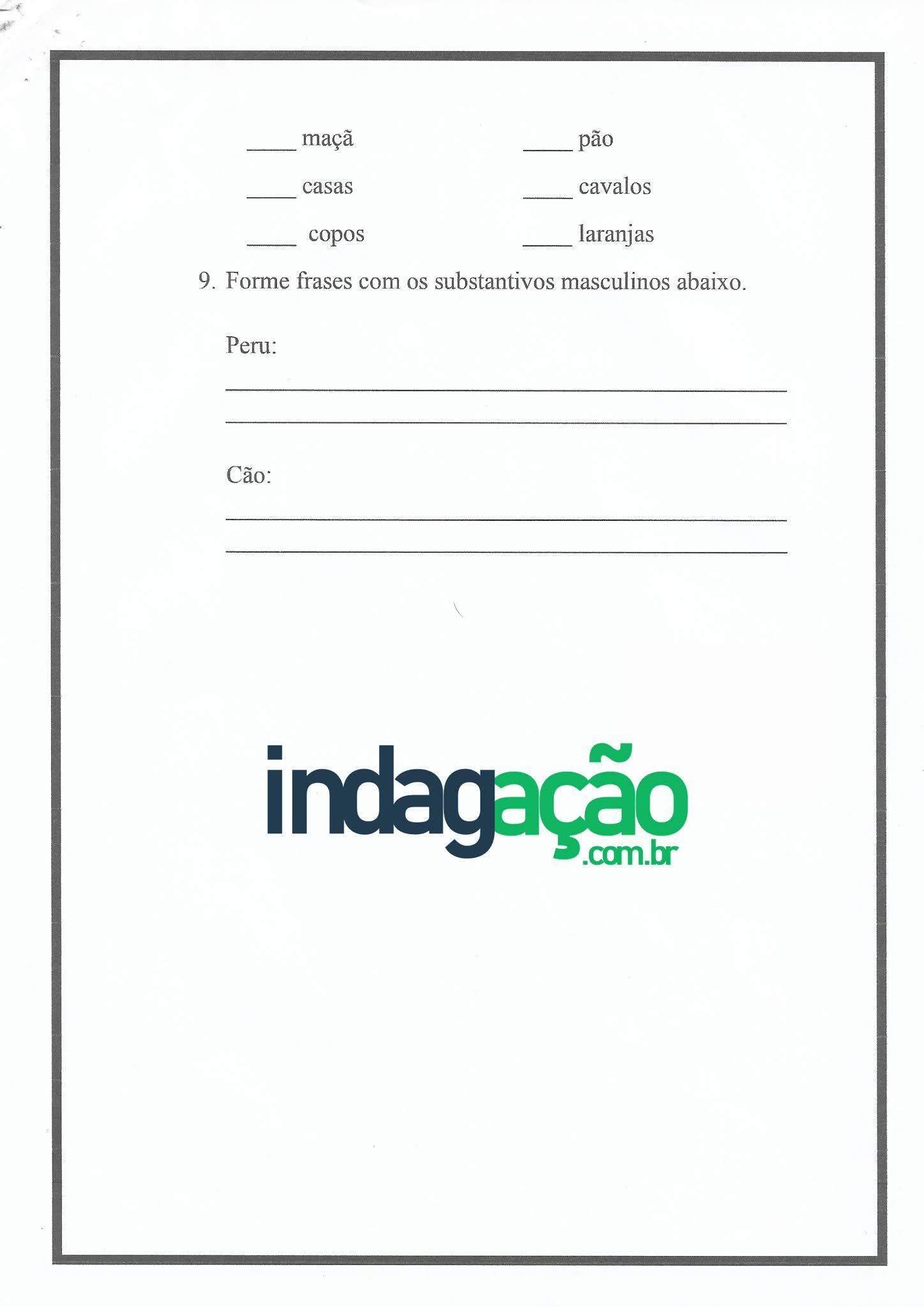 Atividade de Português: Gênero do substantivo masculino e feminino