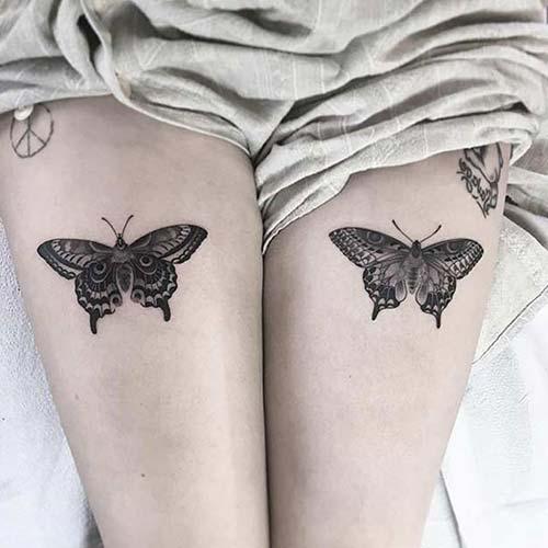 kadın üst bacak kelebek dövmesi woman thigh butterfly tattoo