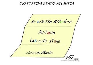 alitalia, autostrade, atlantia, trattative, concessioni, salvataggio, economia, vignetta, satira