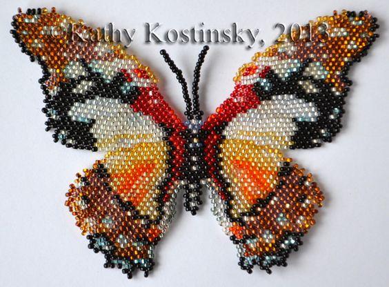 wzory motyli koralikami