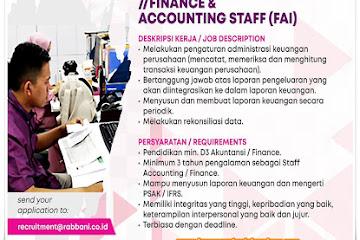 Lowongan Kerja Bandung Finance & Accounting Staff Rabbani