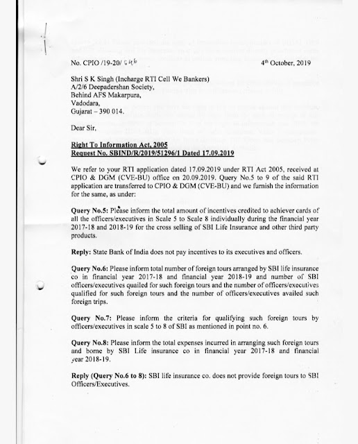We Bankers Filed RTI to SBI regarding commisions incentive earned by Management officials by selling of Third Party Products ( Cross Selling)