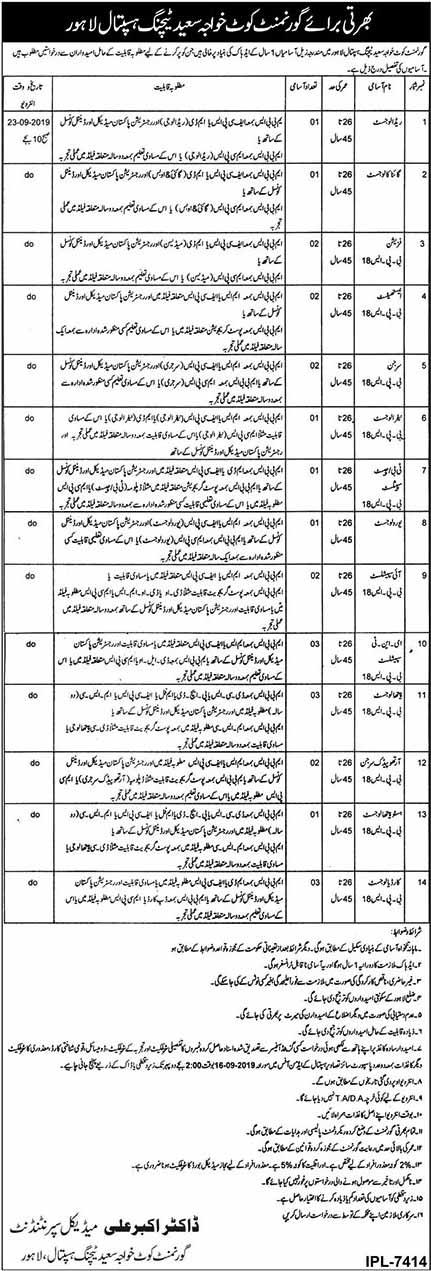 Govt Kot Khawaja Saeed Teaching Hospital Lahore Jobs 2019