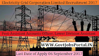 Assam Electricity Grid Corporation Limited Recruitment 2017– Assistant Accounts Officer, Lower Division Assistant