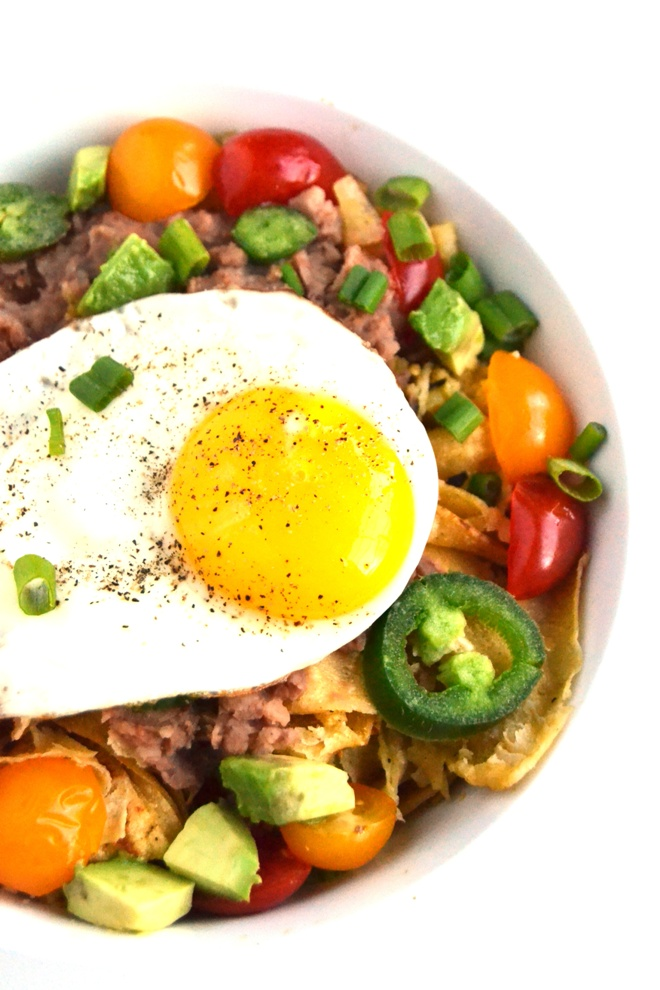 Loaded chilaquiles make a delicious and easy breakfast with tons of flavor. Made with homemade tortilla chips, salsa verde, eggs, refried beans and your choice of fresh toppings such as avocado, jalapenos, green onions and tomatoes! www.nutritionistreviews.com