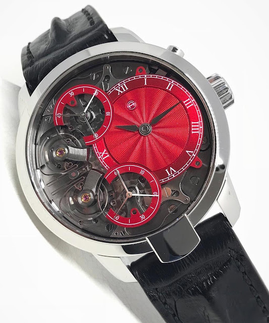Armin Strom Mirrored Force Resonance with red guilloché dial