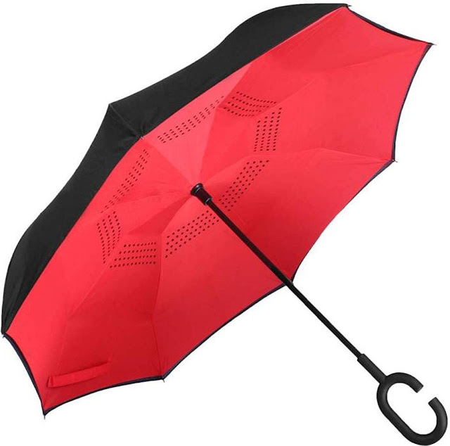 gs GREATERSCAP Reverse Inverted Windproof Upside Down Umbrellas with C-Shaped Handle for Women and Men - Double Layer Inside Out Folding Umbrella
