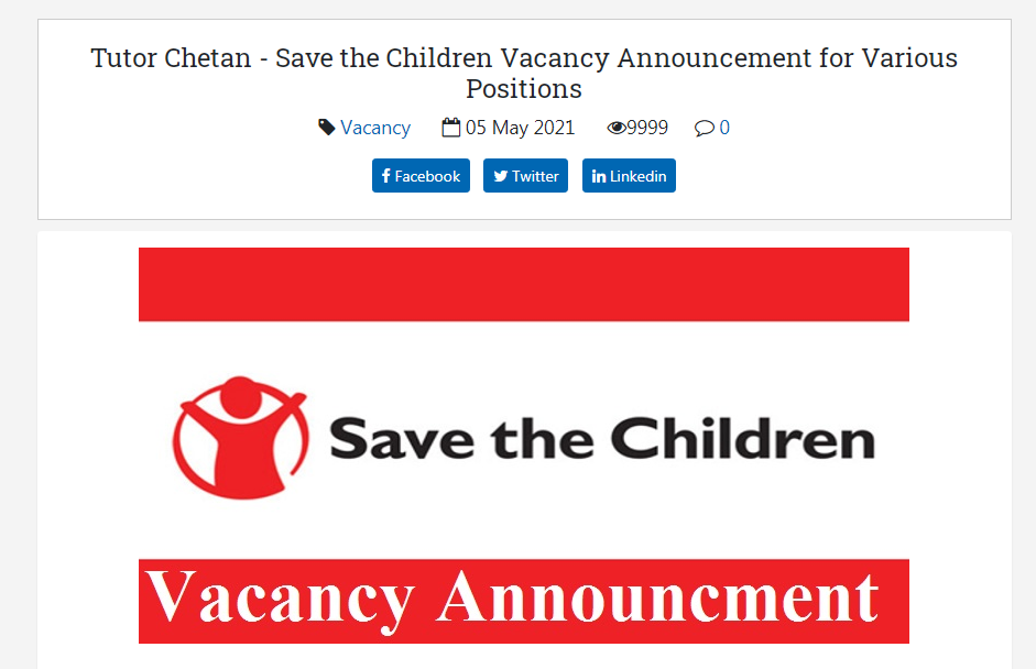Save the Children, Nepal Job Vacancy for Various Positions