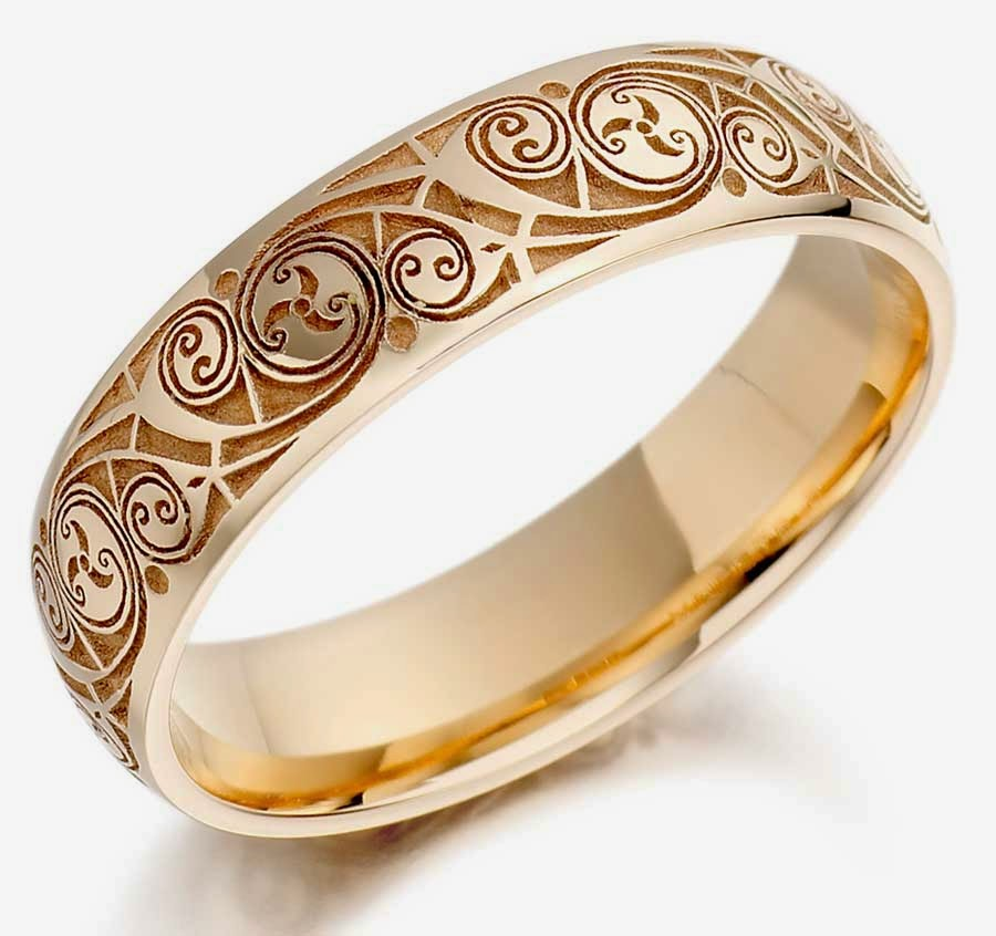 Mens Hand Engraved Wedding Rings Gold Design