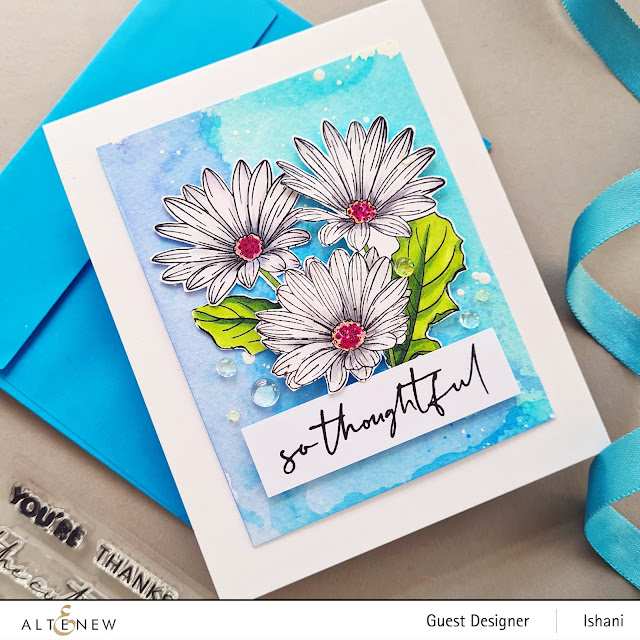 White Daisy card, Altenew Paint a flower - African Daisy, Daisy card, CAS floral card, watercolored background daisies, Copic colored white daisies, Ink smooshing, Guest designer Ishani, Altenew floral stamps, Quillish
