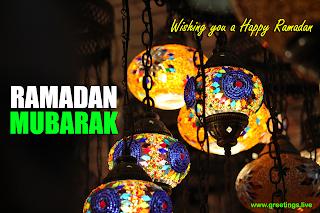 Beautiful Ramadan Mubarak images in English with colorful Ramadan Lanterns Traditional decoration greetings