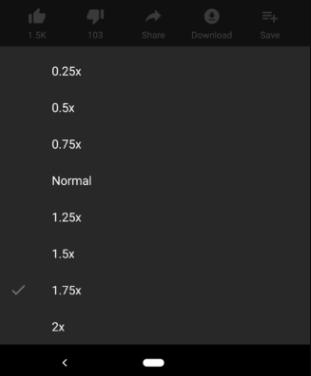 تطبيق يوتيوب يضيف خيار سرعة التشغيل 1.75X إلى إصدار اندرويد