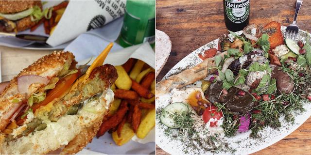 1. Vegan burger at Schiller 2. Libanese vegetarian platter at Babel in Berlin