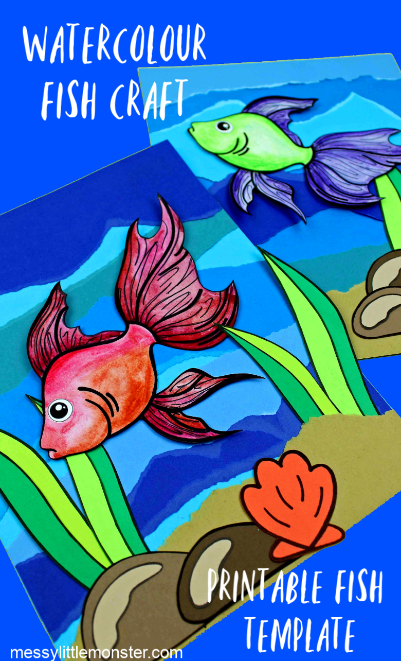 Watercolour fish craft using a printable fish template. Under the sea art for kids.