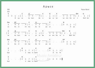 partitur not angka lagu apuse lagu daerah papua
