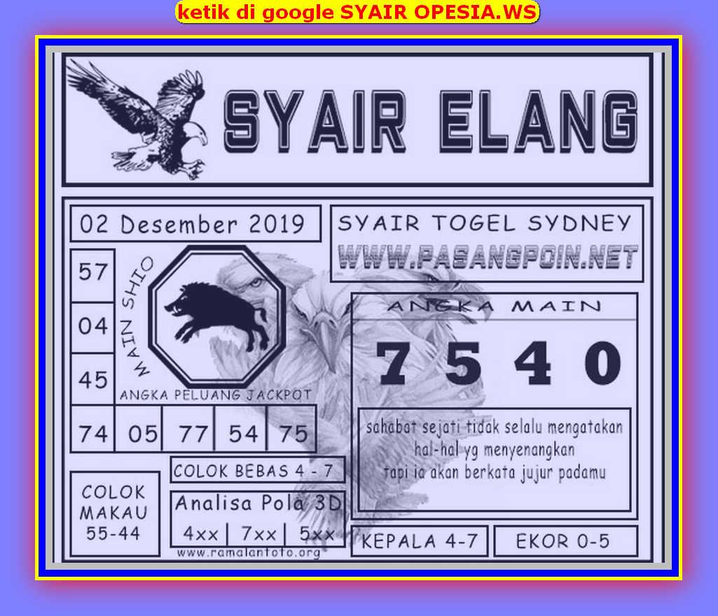 Kode syair Sydney Senin 2 Desember 2019 130