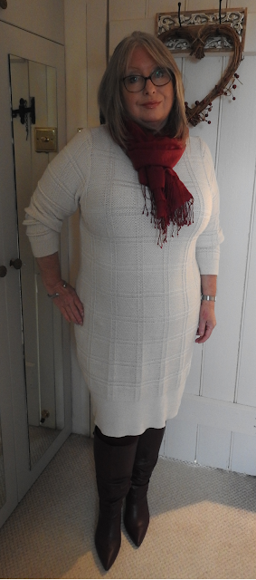 Pouting-Pensioner-Winter-white-sweater-dress-berry-knee-boots