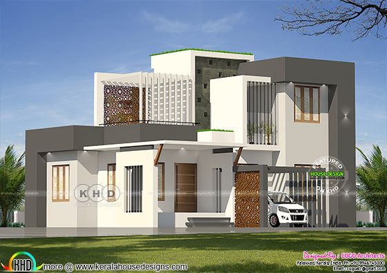 Sober color flat roof house rendering