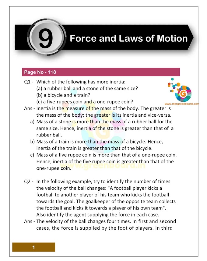 C - 9, Force and Laws of Motion NCERT Solution