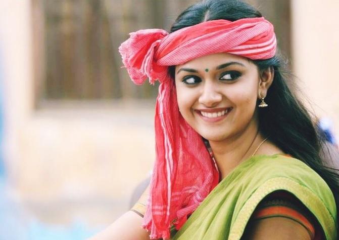 Keerthy Suresh in Saree with Cute Smile in Pandem Kodi 2