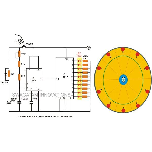 simple roulette wheel circuit with IC 555